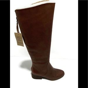 Lucky Brand Leather Knee High Boots Tobacco